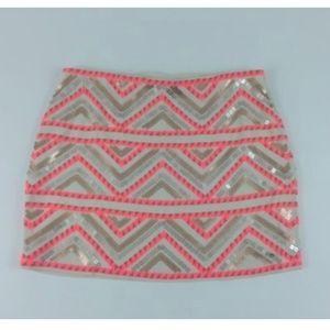 Petite Sequin Neon Pink Gold Silver Mini Skirt